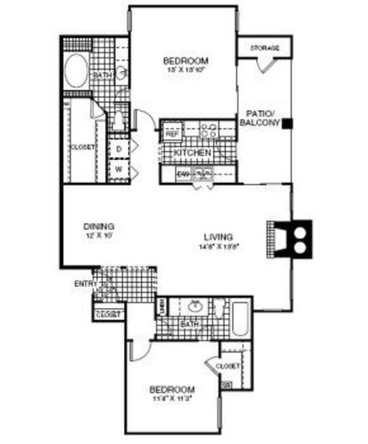1,125 sq. ft. B2 floor plan