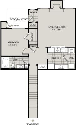 877 sq. ft. A5 floor plan