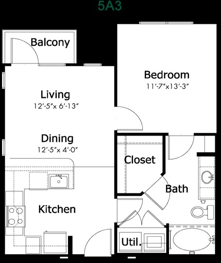 610 sq. ft. to 875 sq. ft. 5a3 floor plan