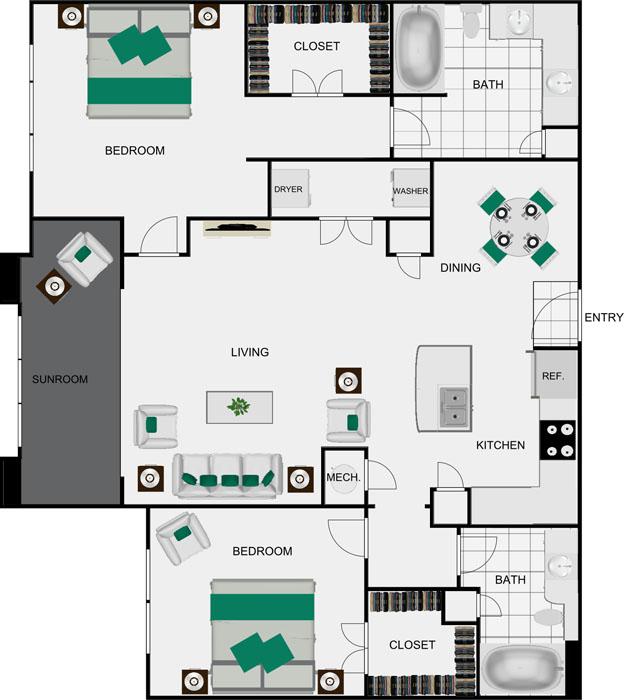 1,307 sq. ft. B4D floor plan
