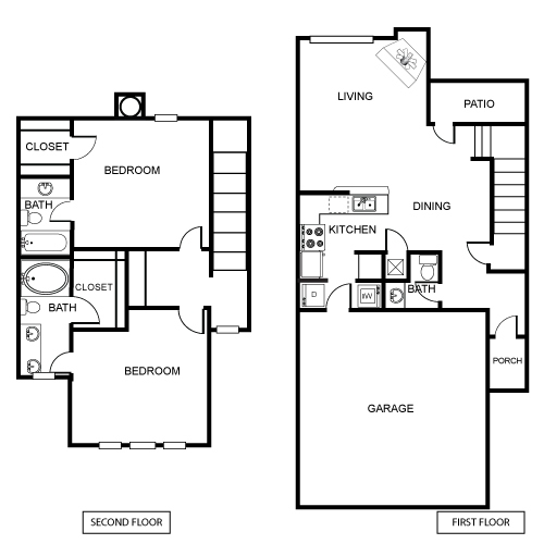 1,276 sq. ft. B1 floor plan
