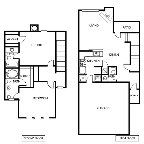 1,276 sq. ft. B1 floor plan