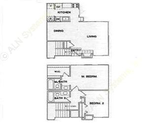 1,043 sq. ft. B3 floor plan