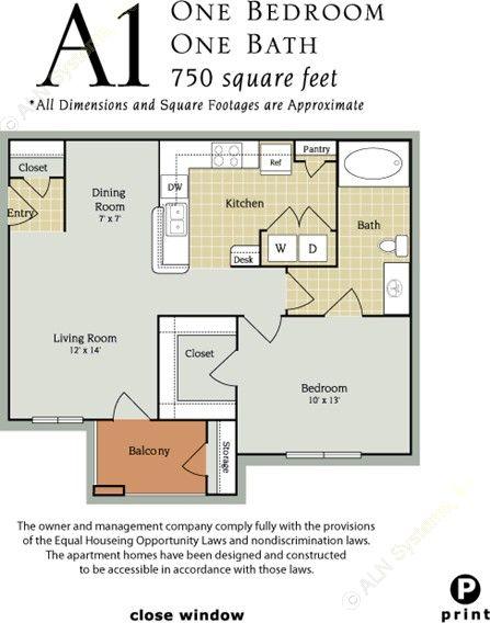 750 sq. ft. A2 Senior/60% floor plan