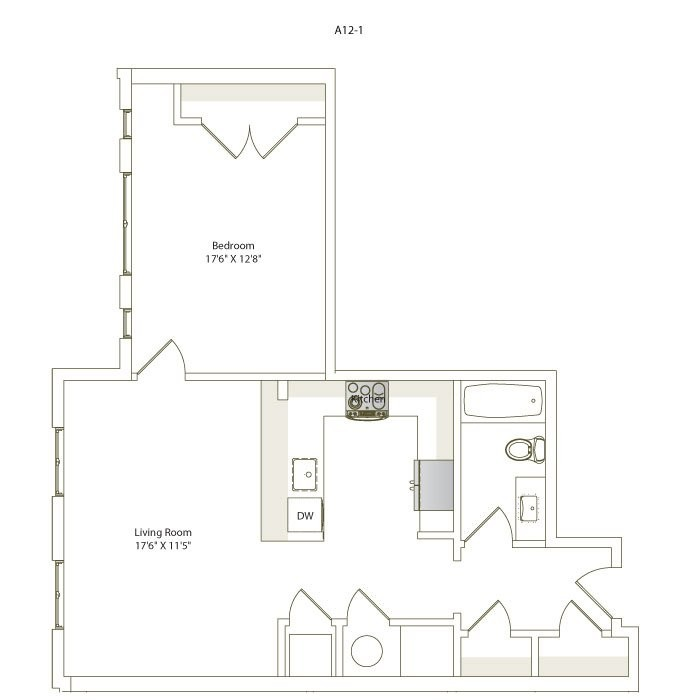 732 sq. ft. A12-1 floor plan