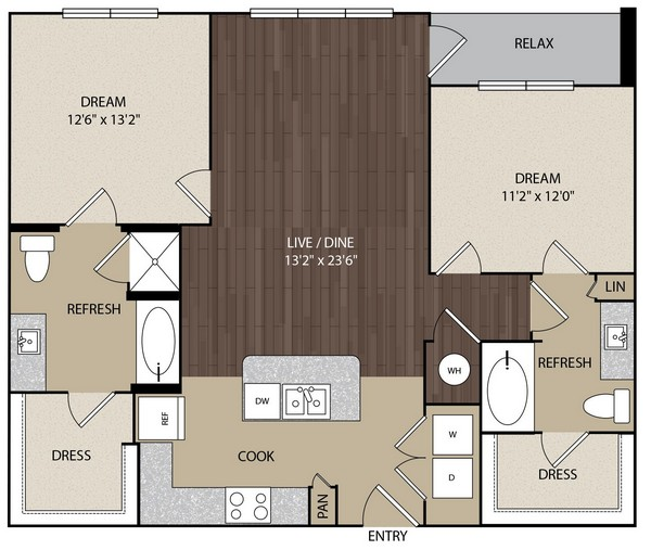 1,148 sq. ft. B1H floor plan