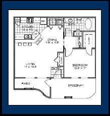 887 sq. ft. to 956 sq. ft. Bermuda floor plan
