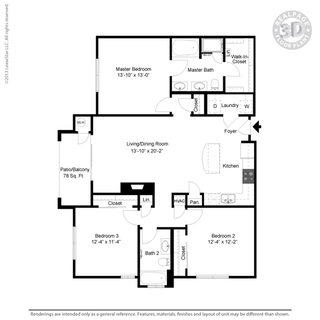 1,348 sq. ft. C2 floor plan