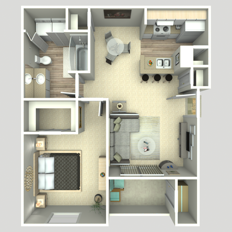 669 sq. ft. A1/A1G floor plan