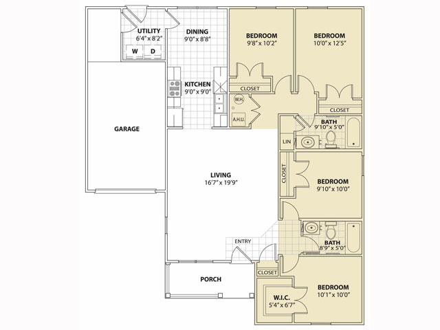 1,294 sq. ft. 60% floor plan