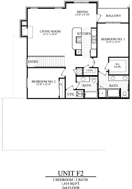 1,414 sq. ft. F2 floor plan