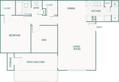 761 sq. ft. C floor plan