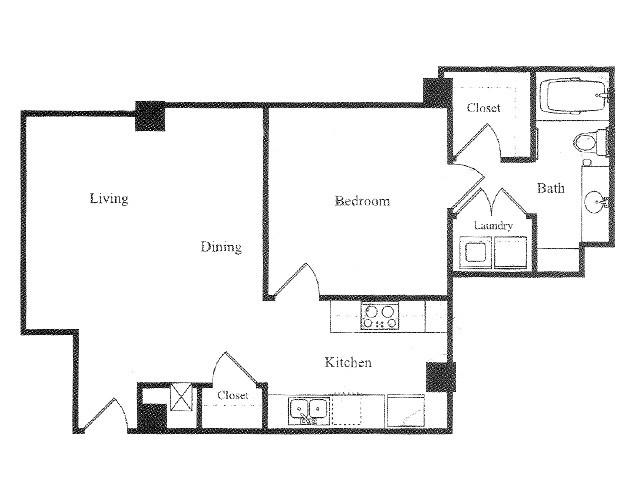 852 sq. ft. E floor plan