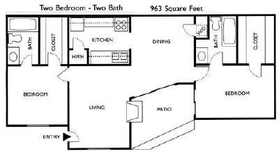 963 sq. ft. Poplar floor plan