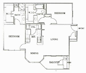 1,038 sq. ft. B1-TUSCANY floor plan