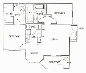 1,038 sq. ft. B1-Tuscany floor plan