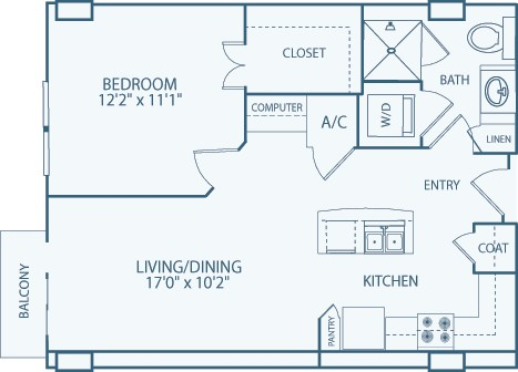 698 sq. ft. A4 floor plan