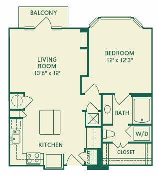774 sq. ft. 2A1A floor plan