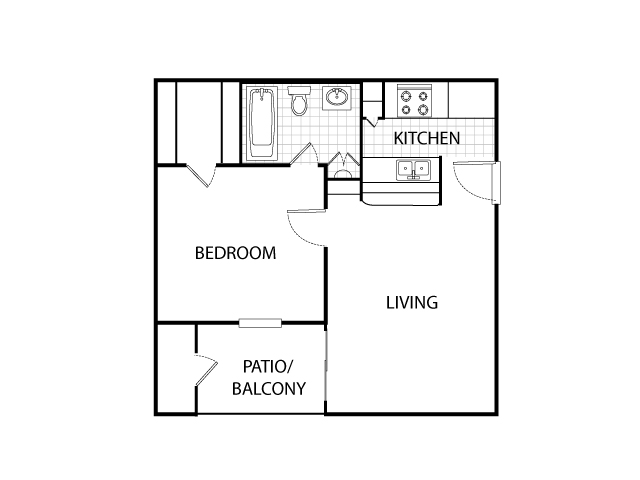 465 sq. ft. A1 floor plan