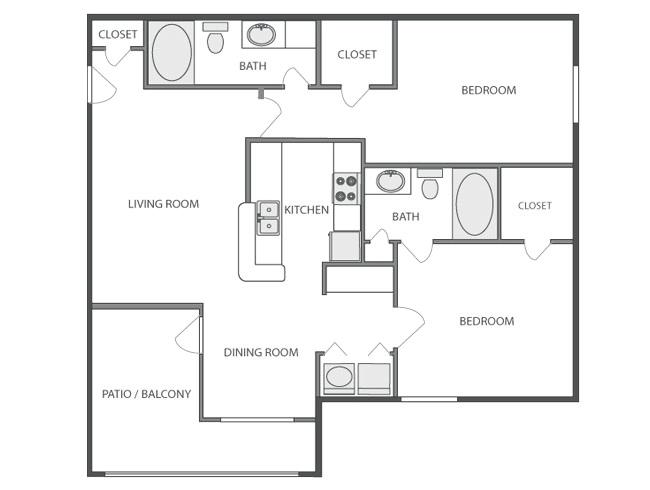 1,040 sq. ft. ARAPAHOE floor plan