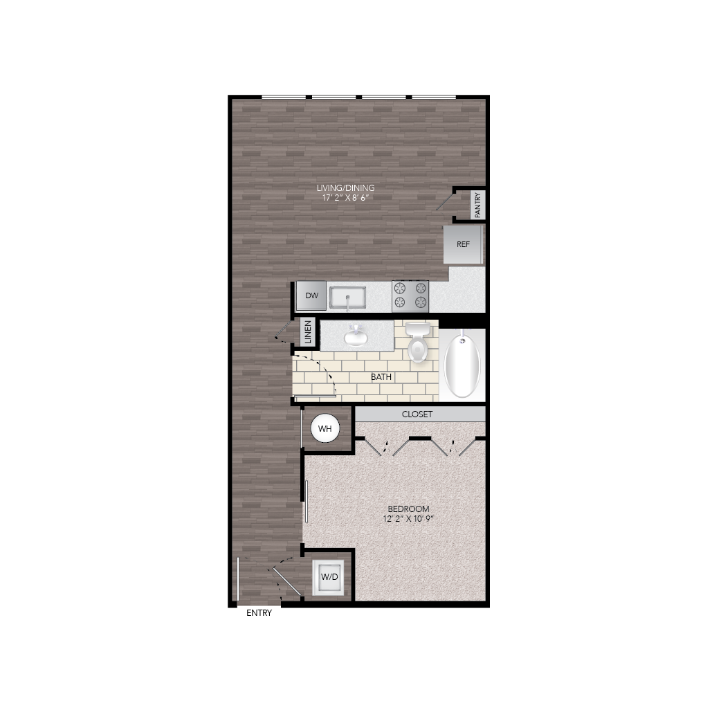 630 sq. ft. E1 floor plan