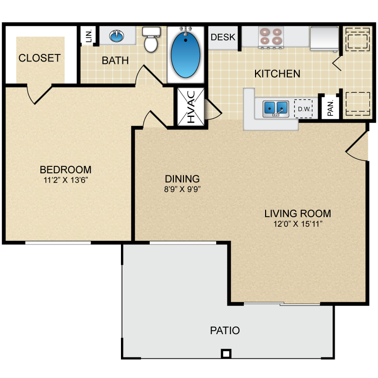 717 sq. ft. A2 floor plan