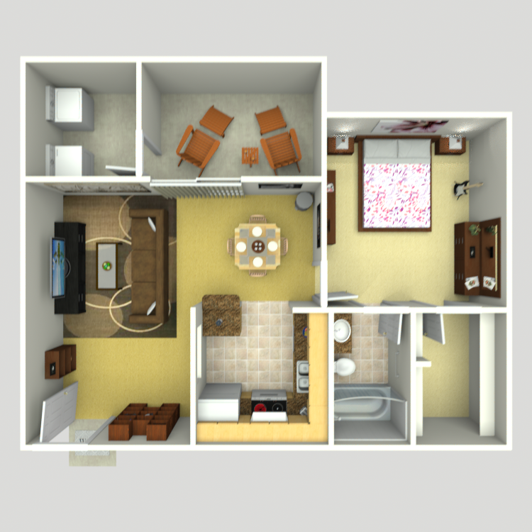 745 sq. ft. A-4 floor plan