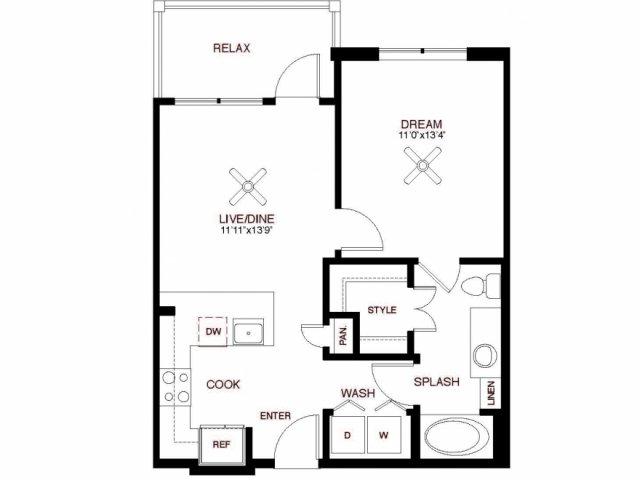 637 sq. ft. Bell floor plan