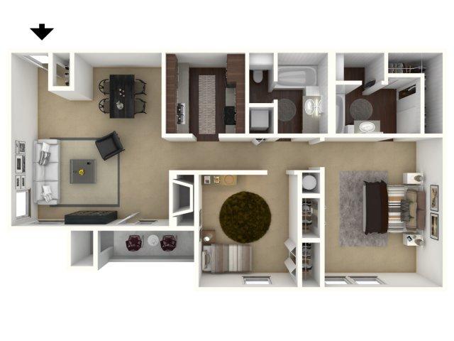 911 sq. ft. Lodge floor plan