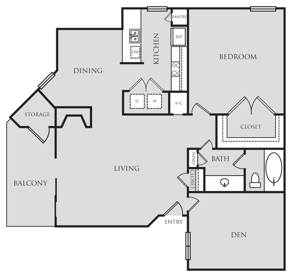 950 sq. ft. A5D floor plan
