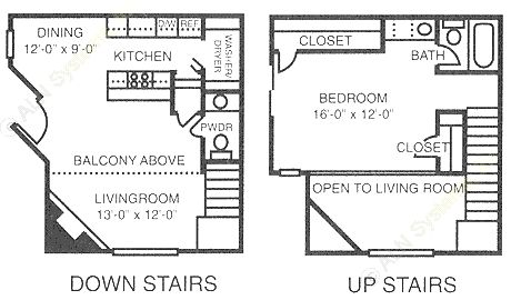 837 sq. ft. A3 floor plan
