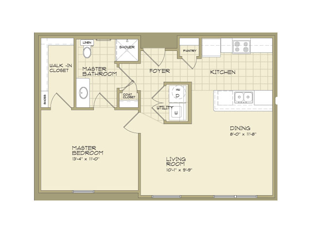 700 sq. ft. 50% floor plan