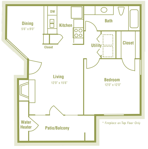 707 sq. ft. B floor plan