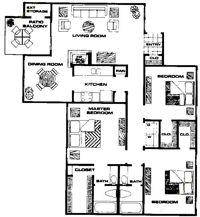1,298 sq. ft. C1 floor plan