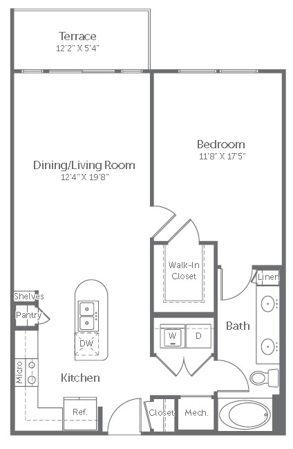 825 sq. ft. A10 floor plan