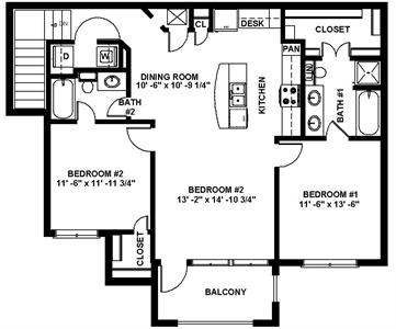 1,164 sq. ft. B2 floor plan