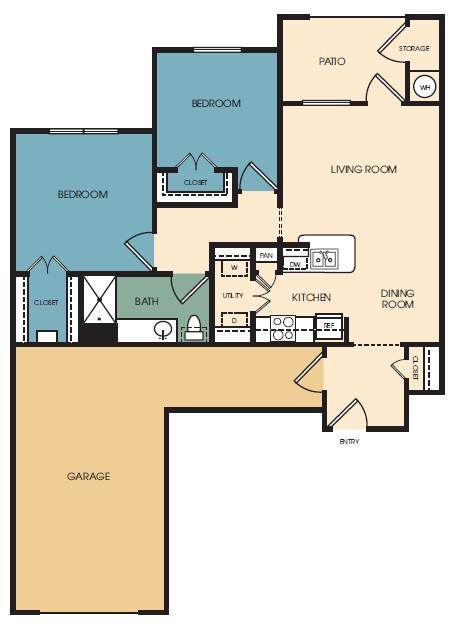 975 sq. ft. Aurora floor plan