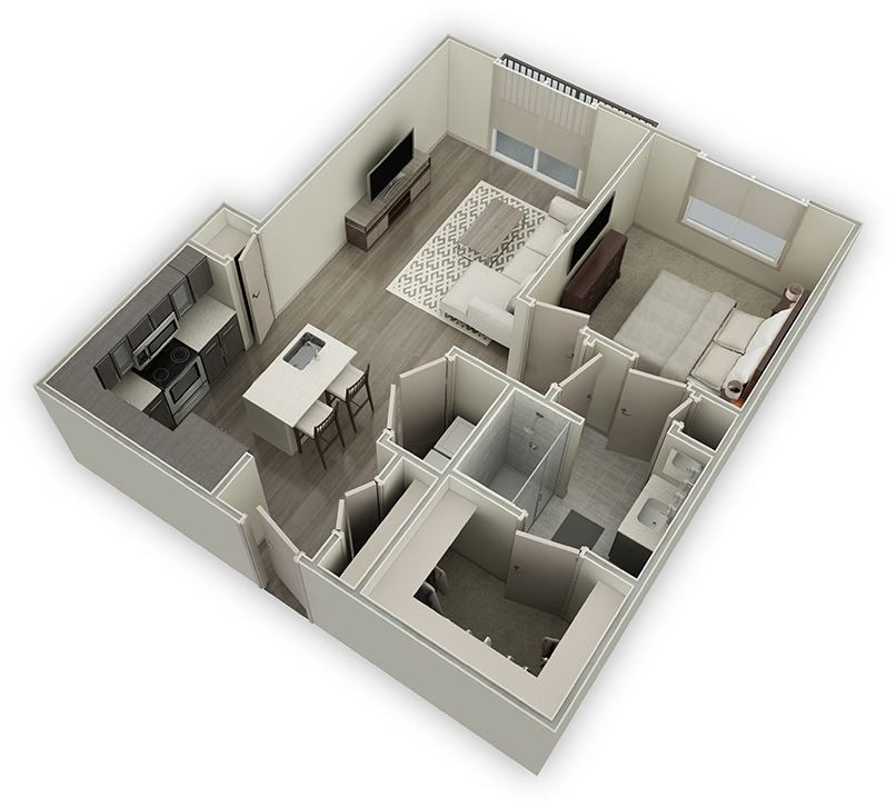 821 sq. ft. A5 floor plan