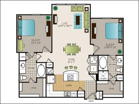 1,083 sq. ft. to 1,137 sq. ft. B1 floor plan