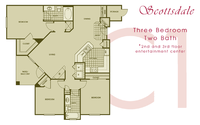 1,300 sq. ft. SCOTTSDALE floor plan