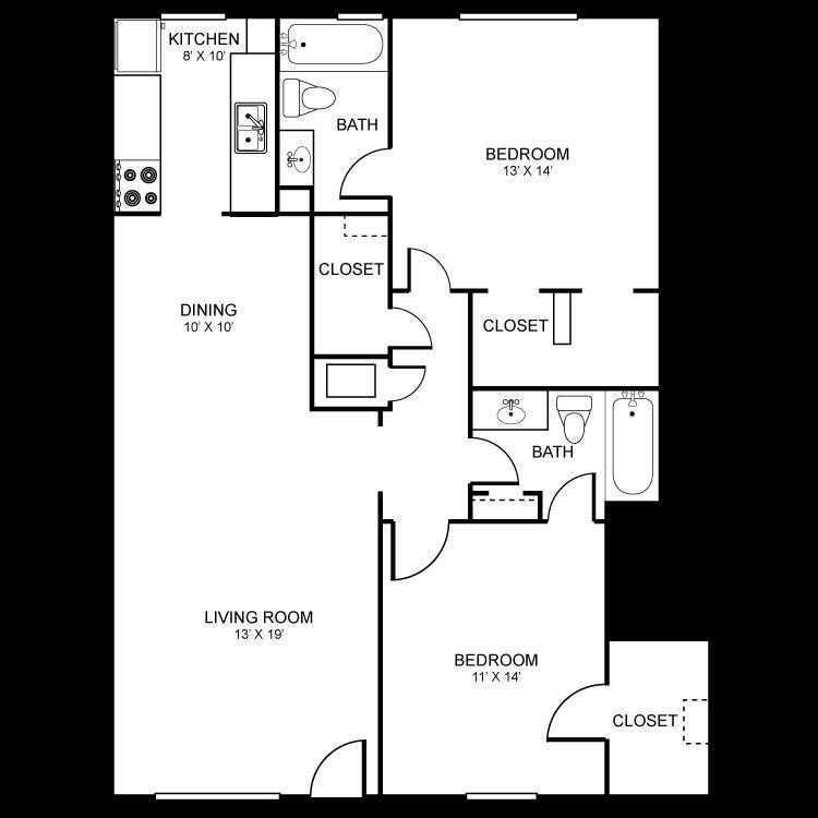 1,053 sq. ft. floor plan