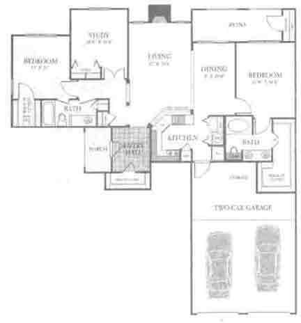 1,325 sq. ft. C3 floor plan