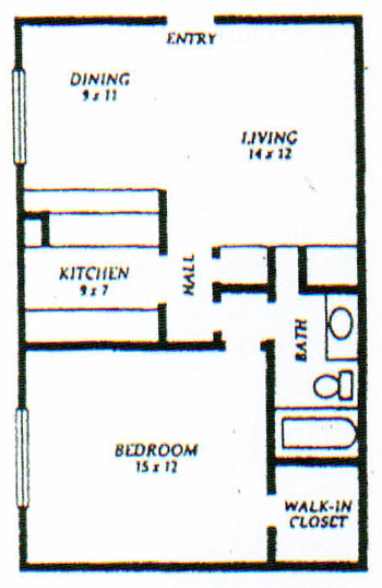 715 sq. ft. A floor plan