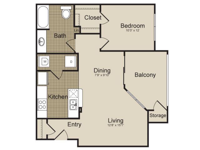 799 sq. ft. Columbia  (A4) floor plan