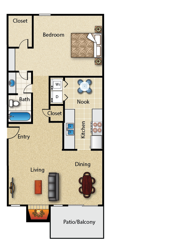 790 sq. ft. 1B floor plan