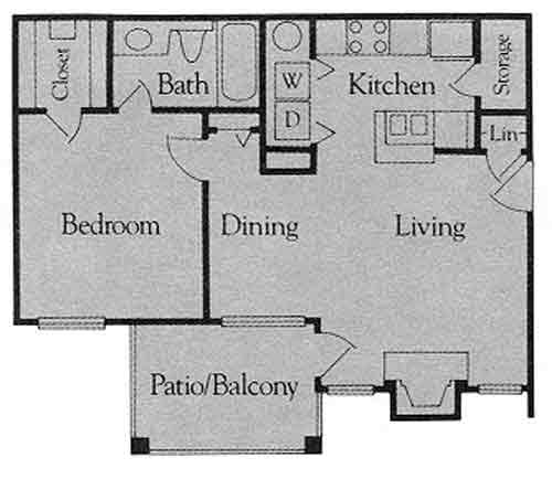 707 sq. ft. A1 floor plan