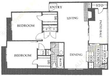 944 sq. ft. B2 floor plan