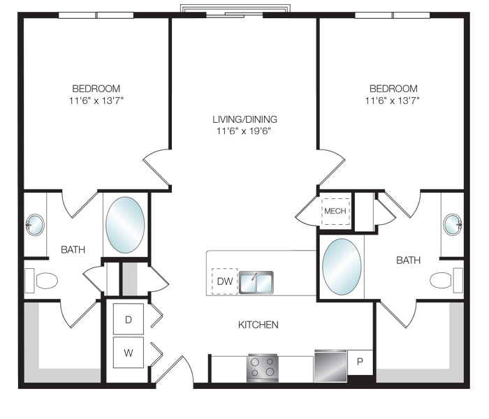 1,080 sq. ft. B2.5 floor plan