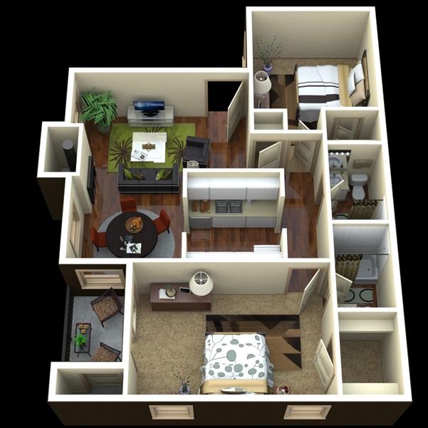830 sq. ft. Southwest floor plan