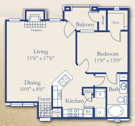 810 sq. ft. Durrand floor plan
